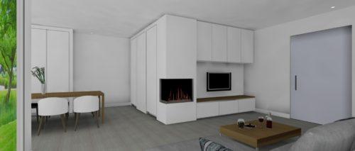 Tv hoek wandkast 3D tekening