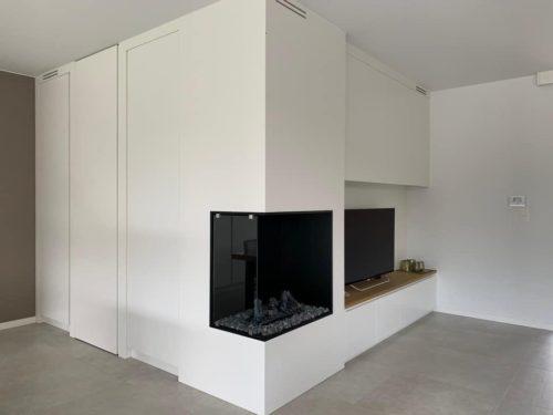 Tv hoek wandkast inbouw openhaard